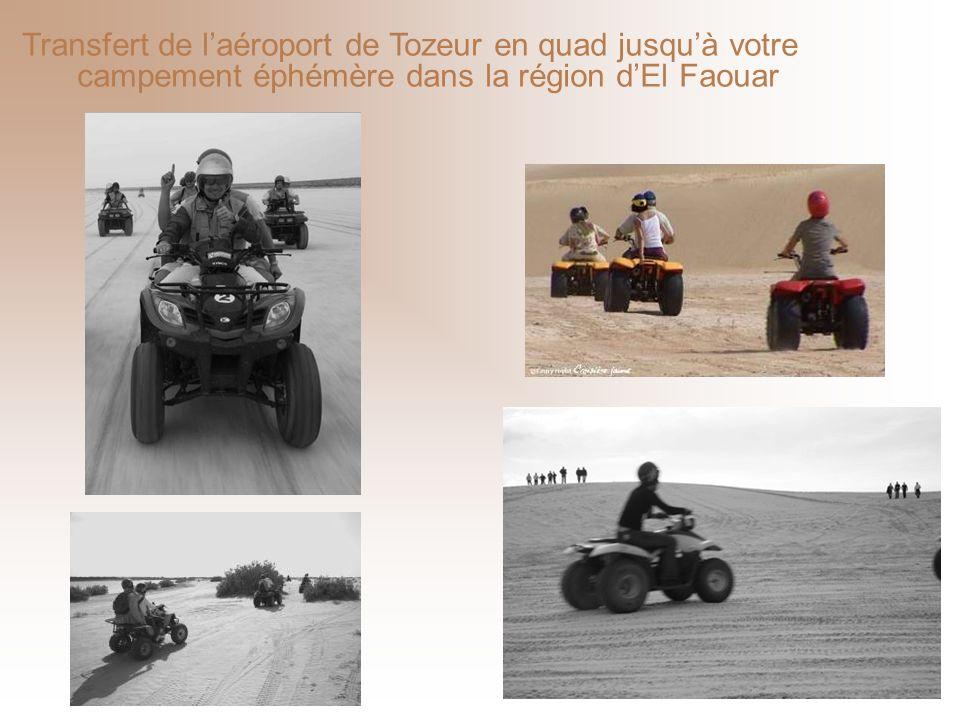 Transfert de l'aéroport de Tozeur en quad jusqu'à votre campement éphémère dans la région d'El Faouar