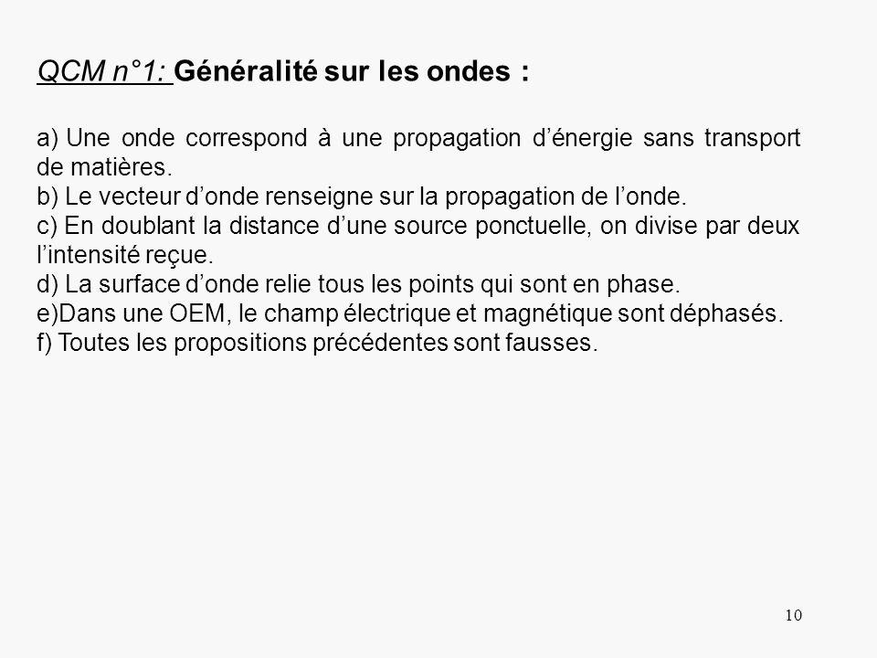 QCM n°1: Généralité sur les ondes :