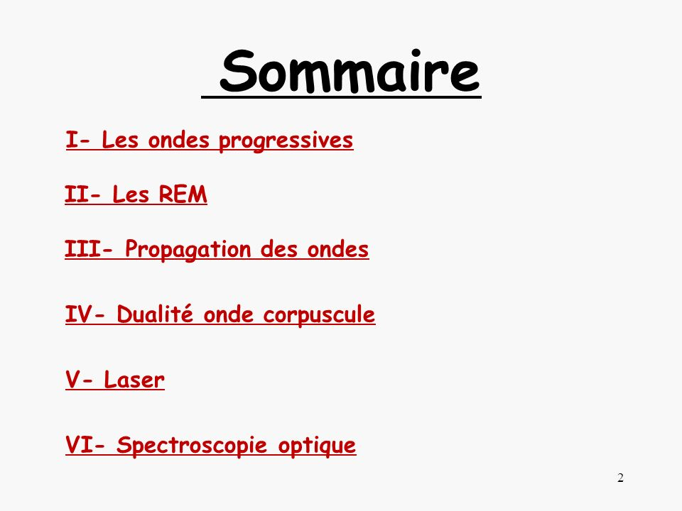 Sommaire I- Les ondes progressives II- Les REM III- Propagation des ondes IV- Dualité onde corpuscule V- Laser VI- Spectroscopie optique