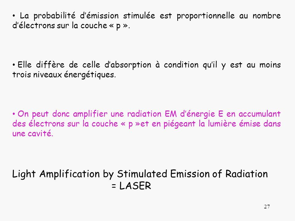 Light Amplification by Stimulated Emission of Radiation = LASER