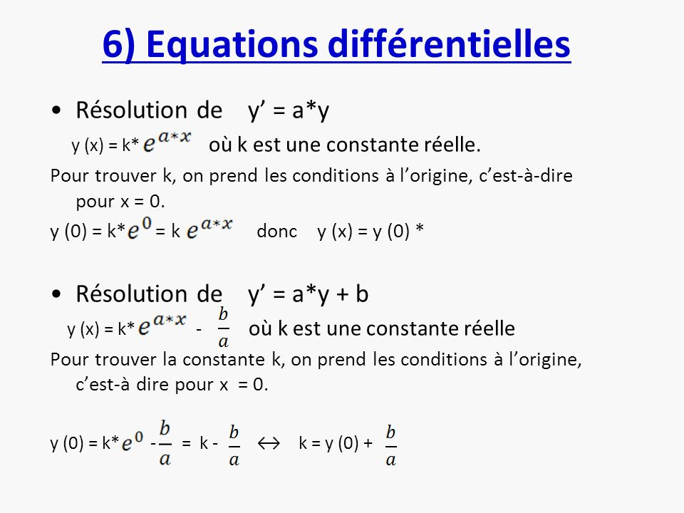 6) Equations différentielles