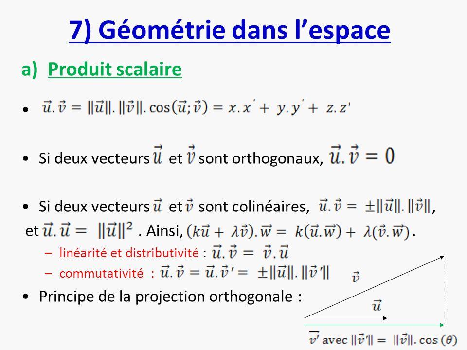 7) Géométrie dans l'espace