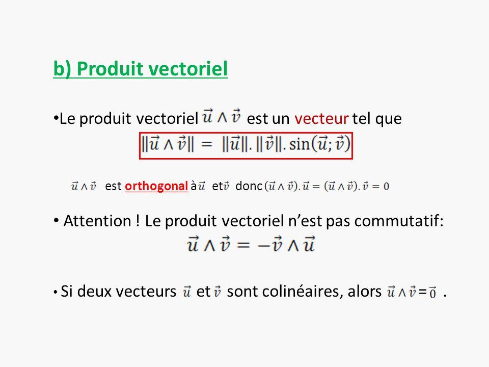 b) Produit vectoriel Le produit vectoriel est un vecteur tel que
