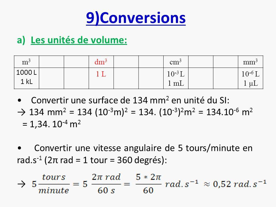 9)Conversions Les unités de volume: