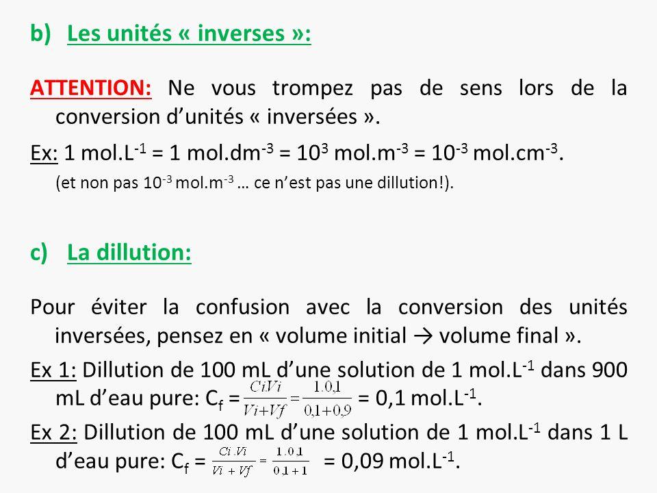 Les unités « inverses »: