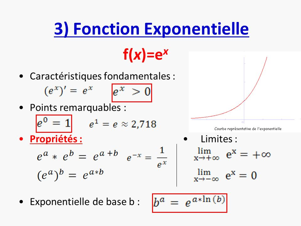 3) Fonction Exponentielle