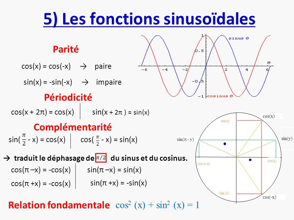 5) Les fonctions sinusoïdales