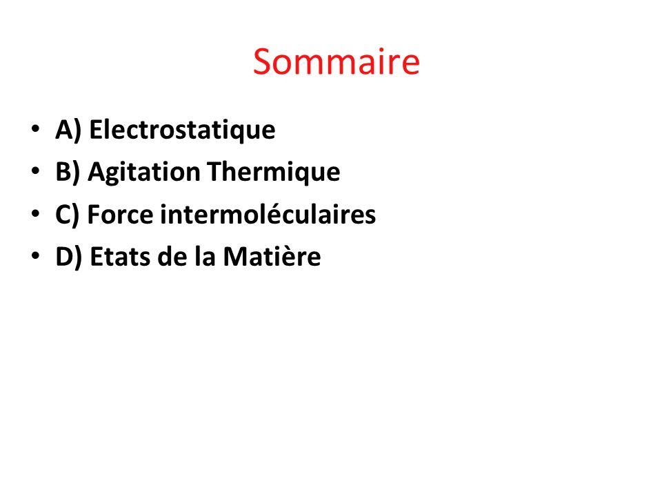 Sommaire A) Electrostatique B) Agitation Thermique