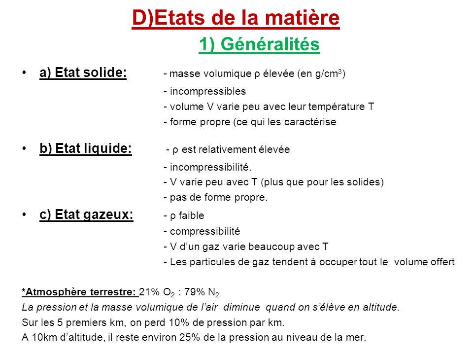 D)Etats de la matière 1) Généralités