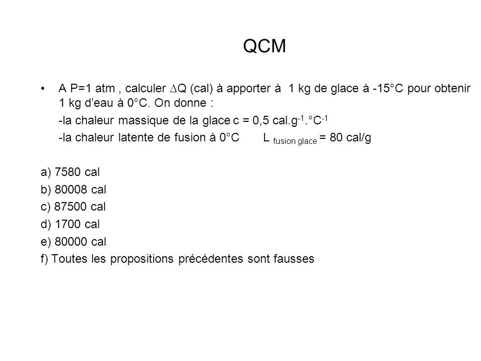 QCMA P=1 atm , calculer ∆Q (cal) à apporter à 1 kg de glace à -15°C pour obtenir 1 kg d'eau à 0°C. On donne :