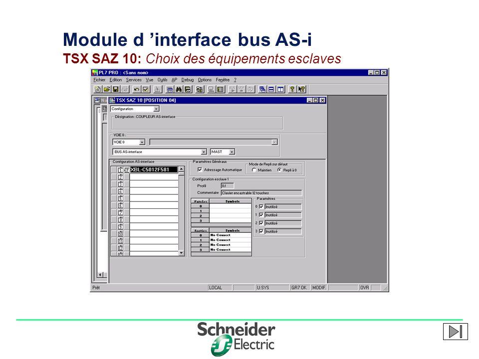 Module d 'interface bus AS-i TSX SAZ 10: Choix des équipements esclaves