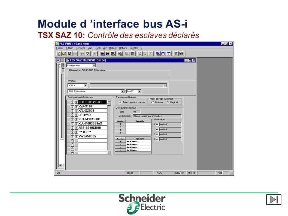 Module d 'interface bus AS-i TSX SAZ 10: Contrôle des esclaves déclarés