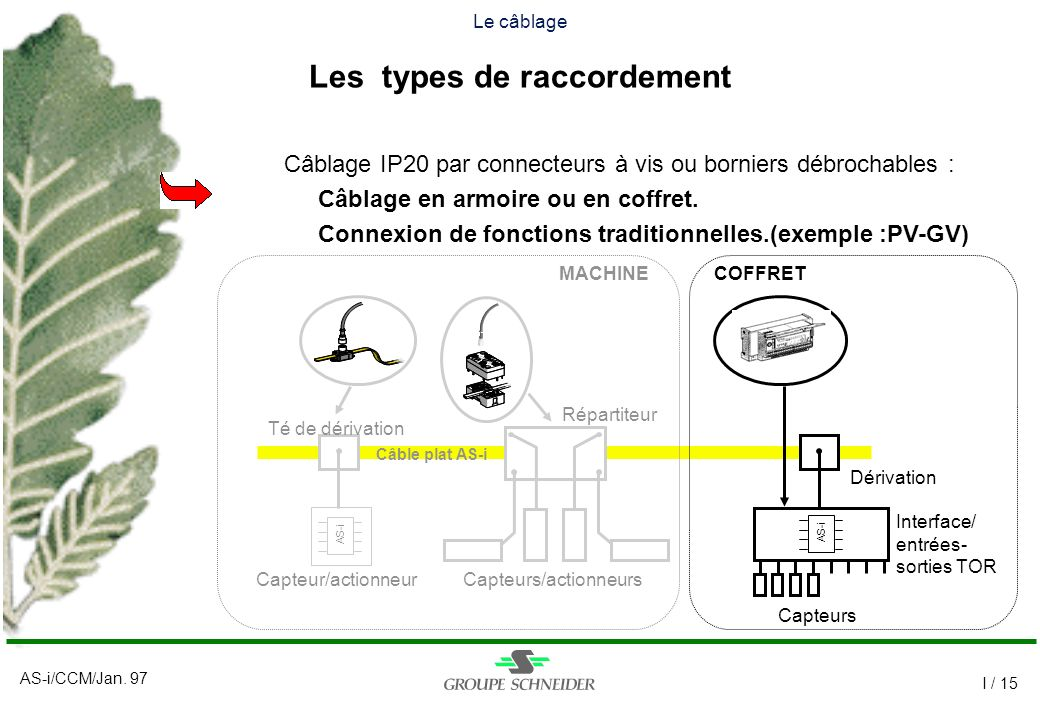 Câblage IP20 par connecteurs à vis ou borniers débrochables :