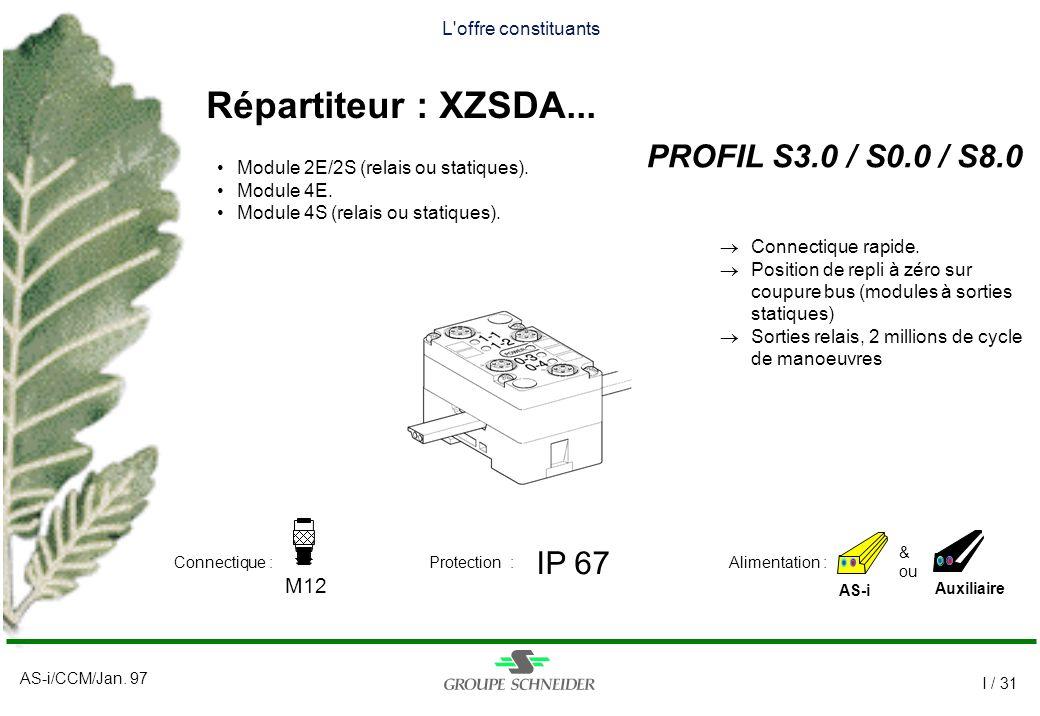 Répartiteur : XZSDA... PROFIL S3.0 / S0.0 / S8.0 IP 67 M12