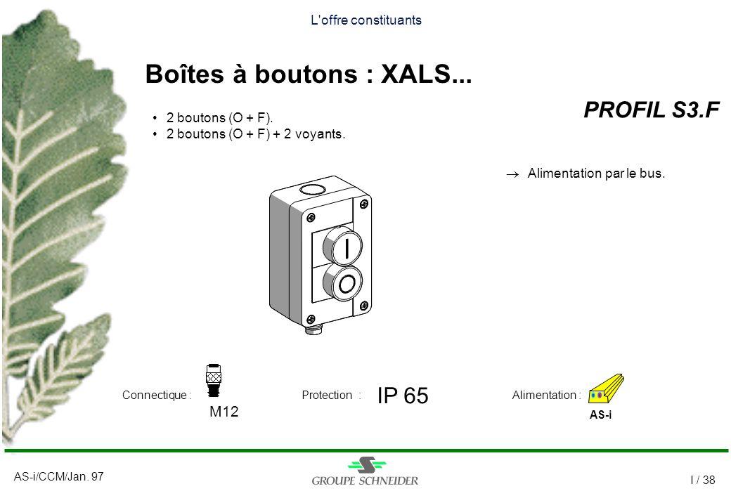 Boîtes à boutons : XALS... PROFIL S3.F IP 65 M12 L offre constituants