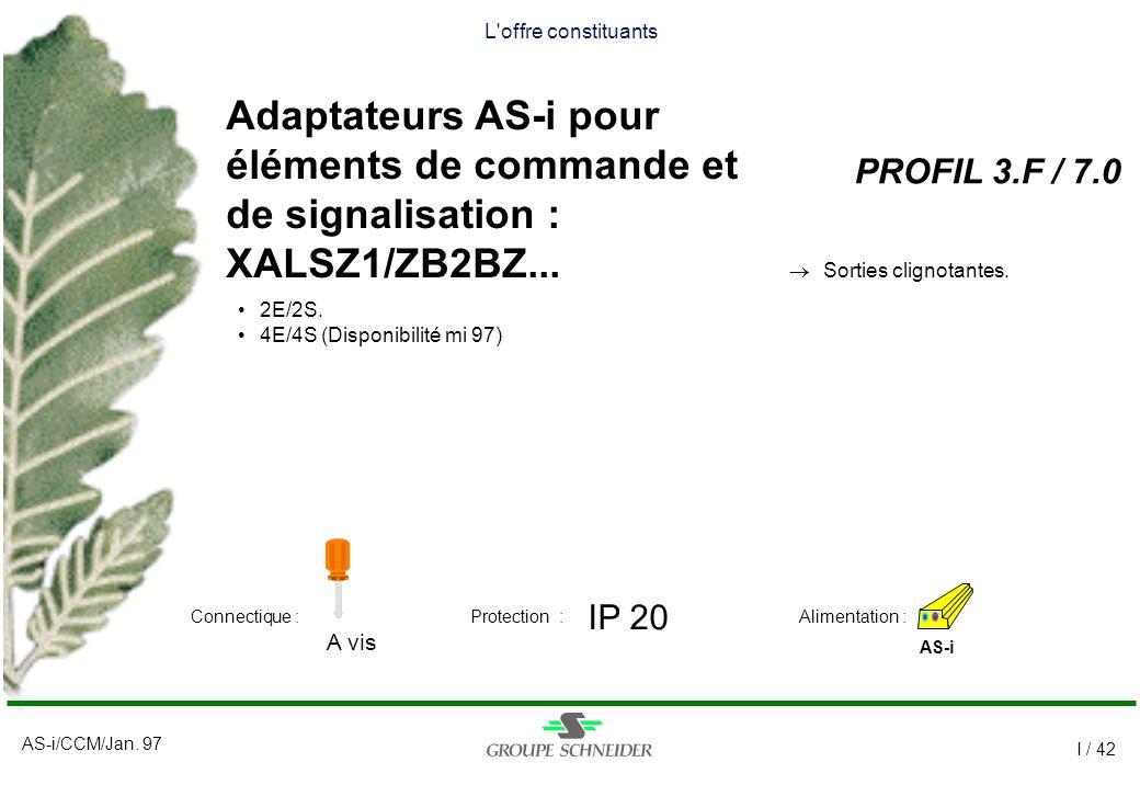 L offre constituants Adaptateurs AS-i pour éléments de commande et de signalisation : XALSZ1/ZB2BZ...