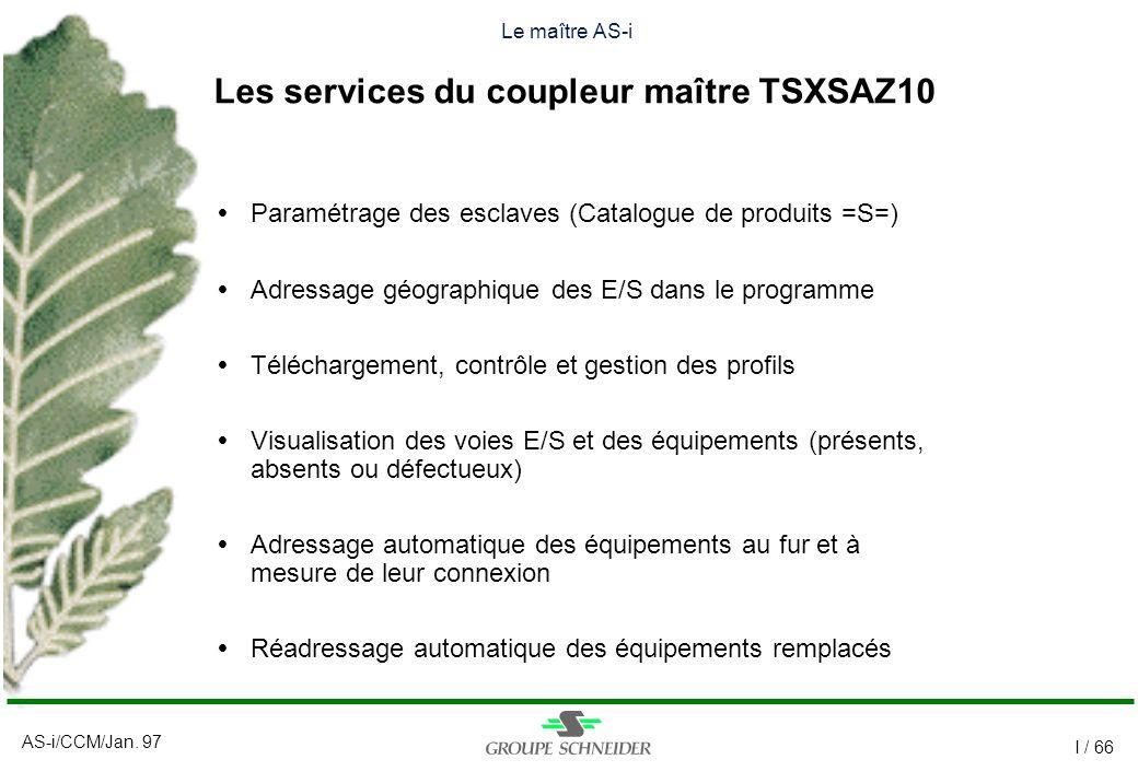 Le maître AS-i Les services du coupleur maître TSXSAZ10