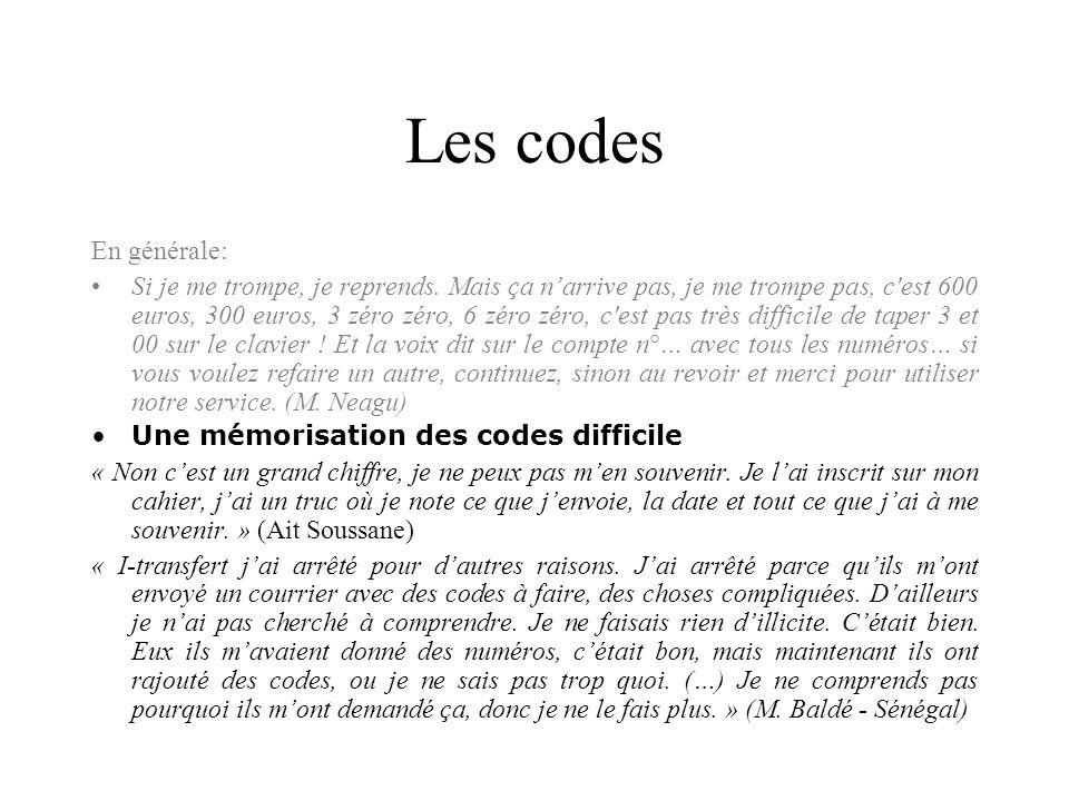 Les codesEn générale: