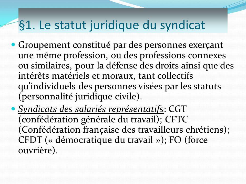 §1. Le statut juridique du syndicat