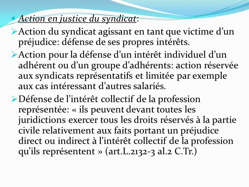 Action en justice du syndicat: