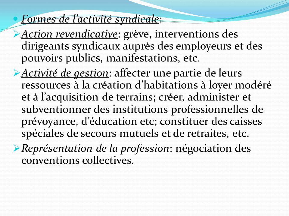 Formes de l'activité syndicale: