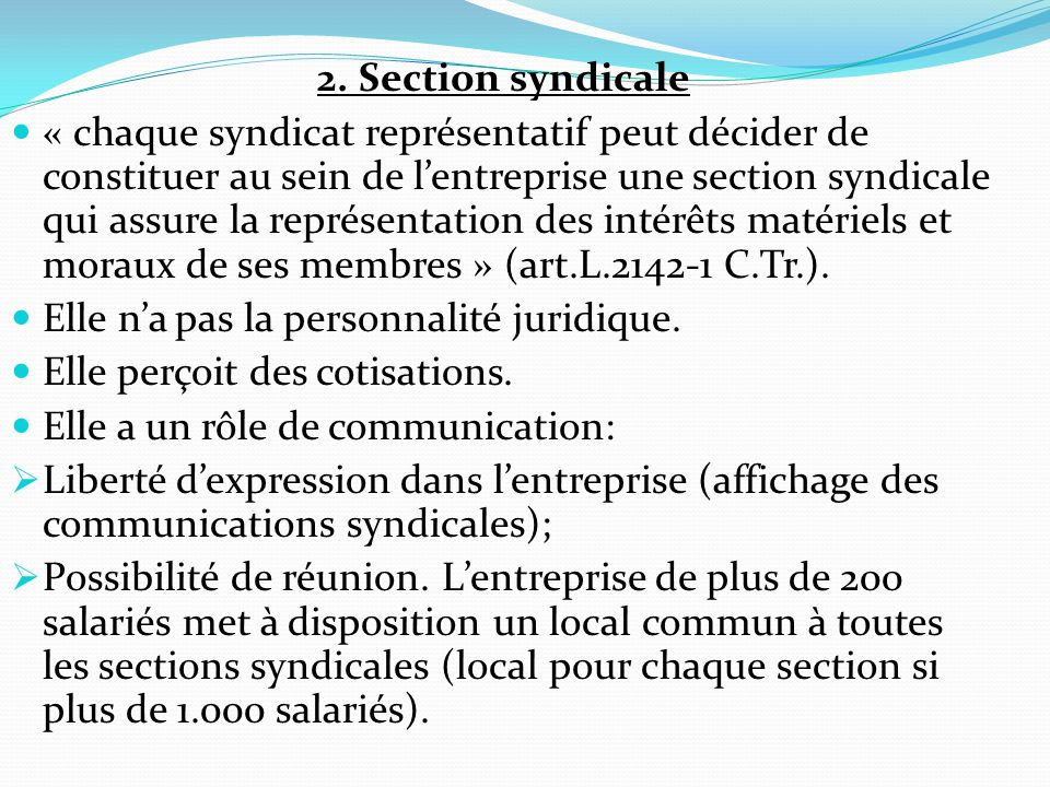 2. Section syndicale