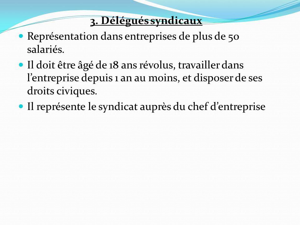 3. Délégués syndicaux Représentation dans entreprises de plus de 50 salariés.