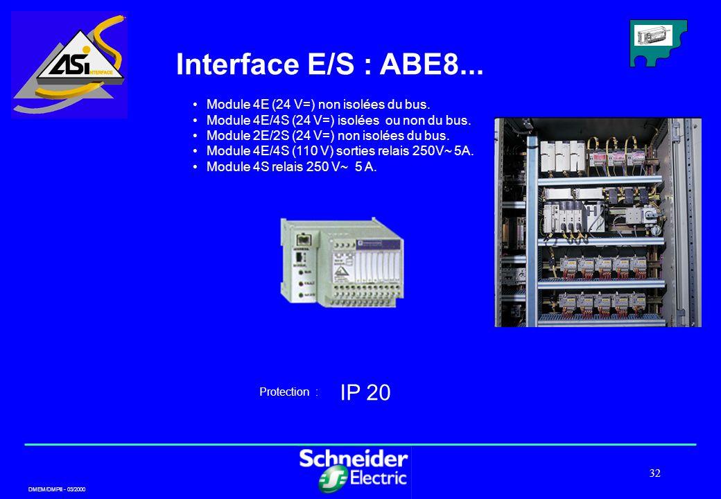 Interface E/S : ABE8... IP 20 Module 4E (24 V=) non isolées du bus.