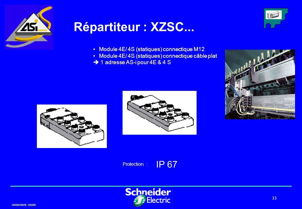 Répartiteur : XZSC... IP 67 Module 4E/ 4S (statiques) connectique M12