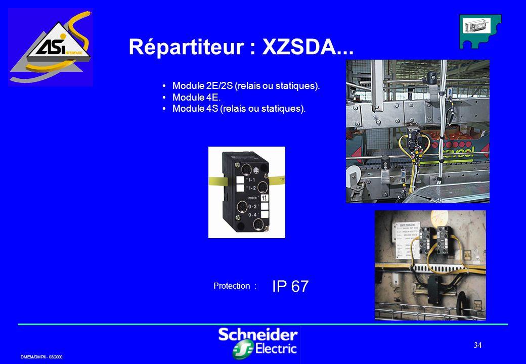 Répartiteur : XZSDA... IP 67 Module 2E/2S (relais ou statiques).