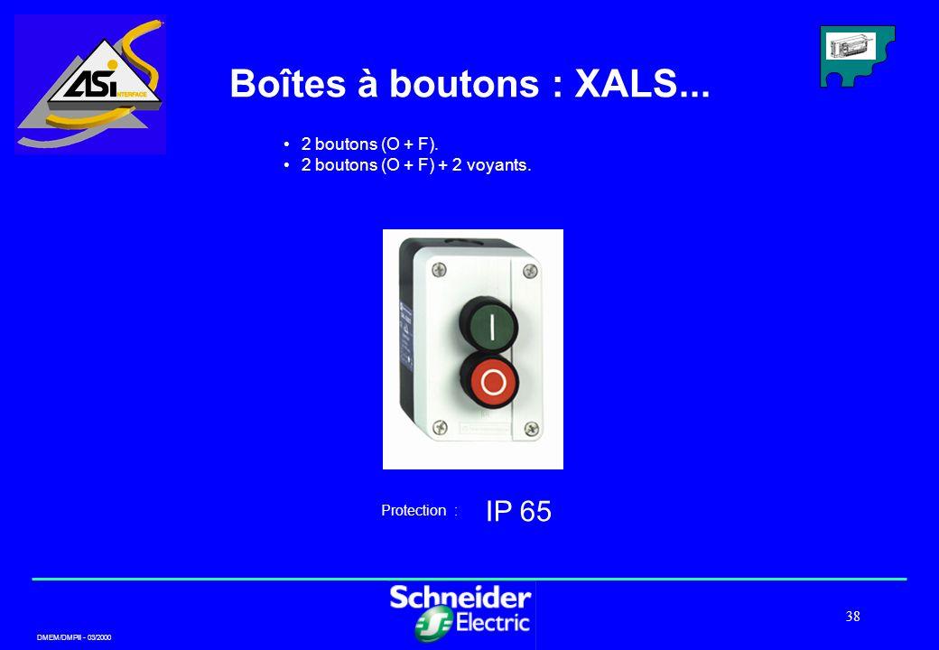 Boîtes à boutons : XALS... IP 65 2 boutons (O + F).