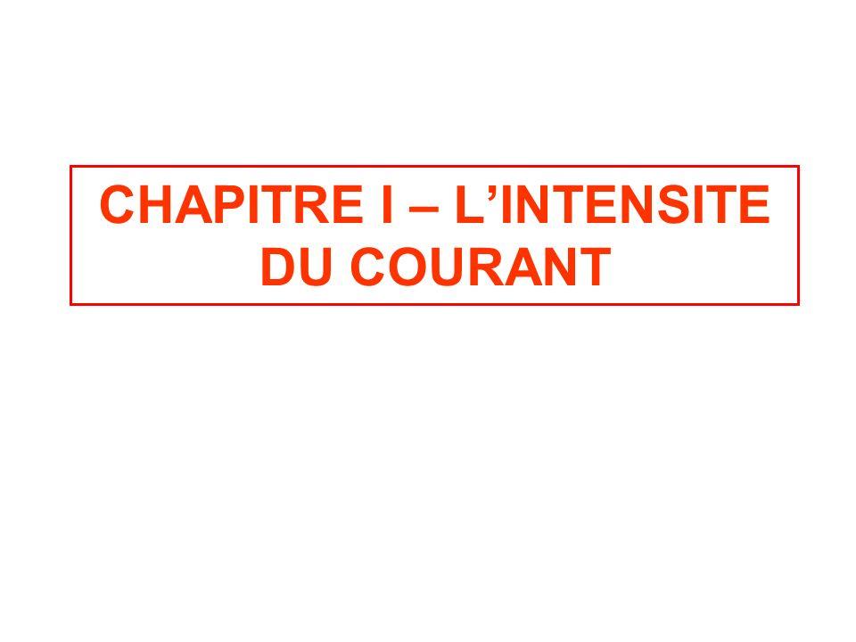 CHAPITRE I – L'INTENSITE DU COURANT