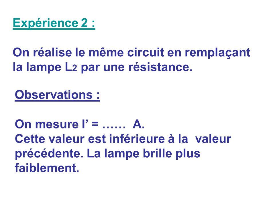 Expérience 2 : On réalise le même circuit en remplaçant la lampe L2 par une résistance. Observations :