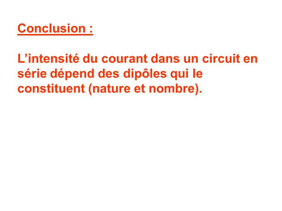 Conclusion : L'intensité du courant dans un circuit en série dépend des dipôles qui le constituent (nature et nombre).