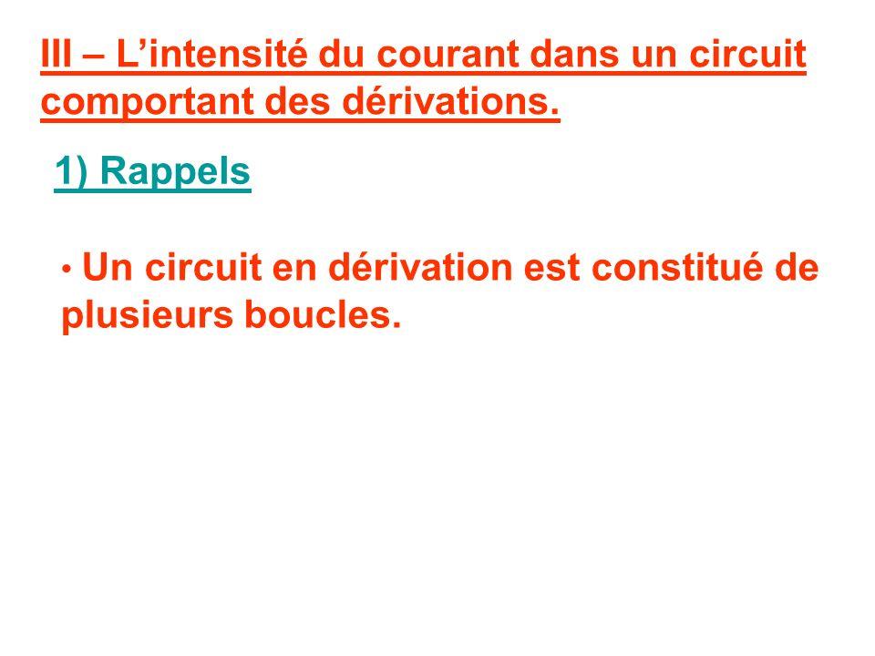 III – L'intensité du courant dans un circuit comportant des dérivations.