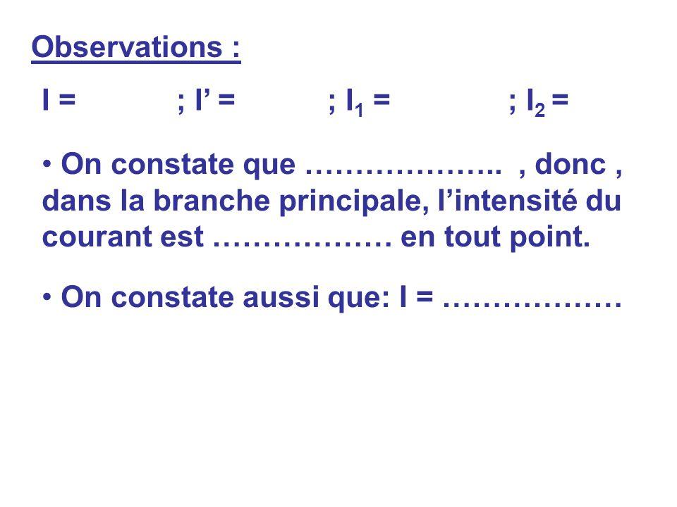Observations : I = ; I' = ; I1 = ; I2 =