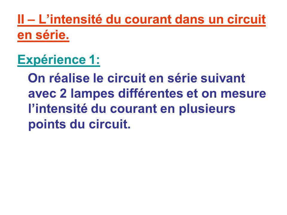 II – L'intensité du courant dans un circuit en série.