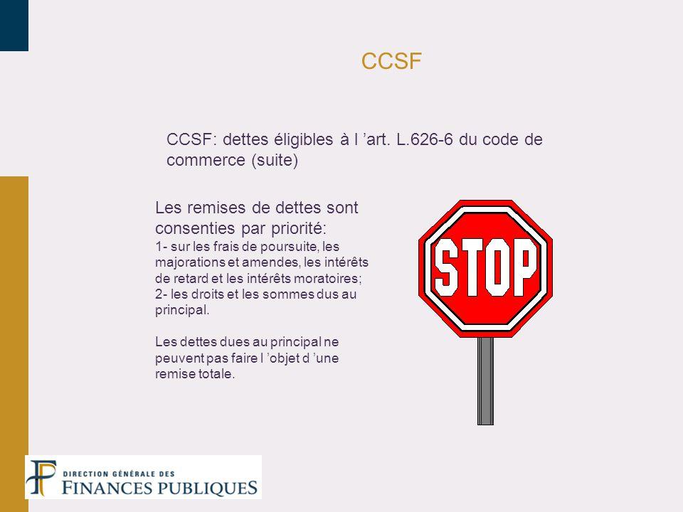 CCSF CCSF: dettes éligibles à l 'art. L.626-6 du code de commerce (suite) Les remises de dettes sont consenties par priorité: