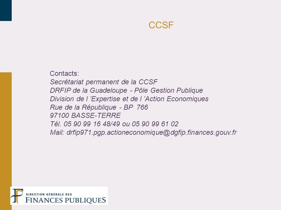 CCSF Contacts: Secrétariat permanent de la CCSF