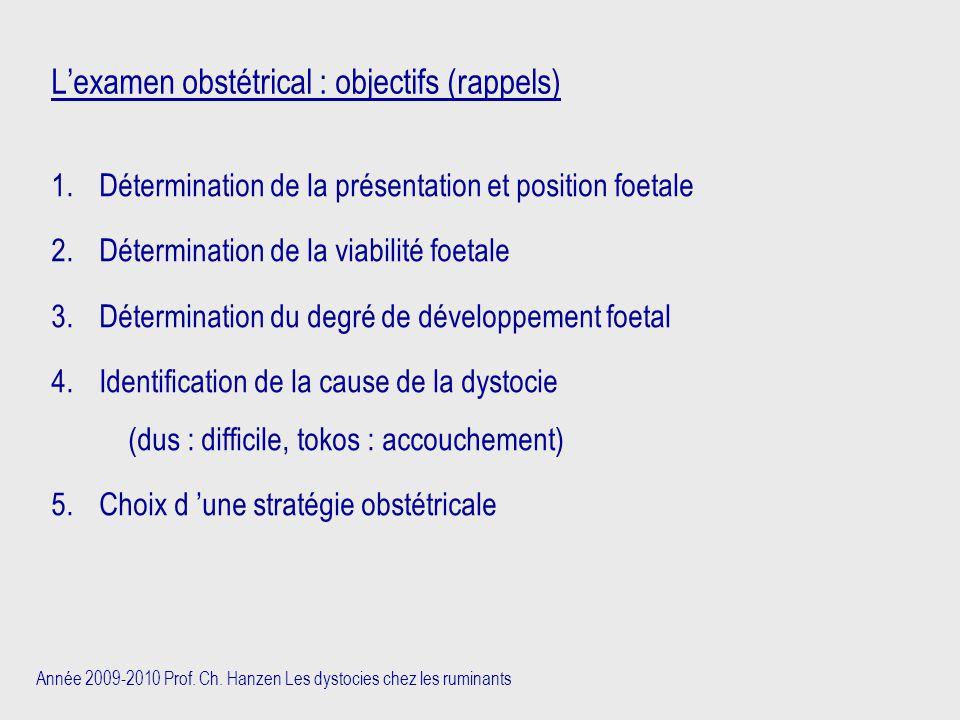 L'examen obstétrical : objectifs (rappels)