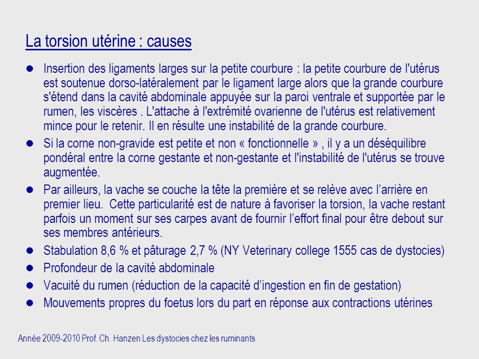 La torsion utérine : causes