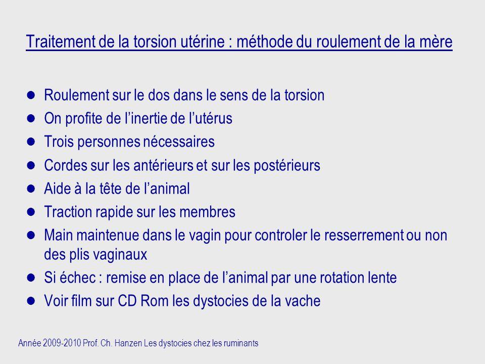 Traitement de la torsion utérine : méthode du roulement de la mère