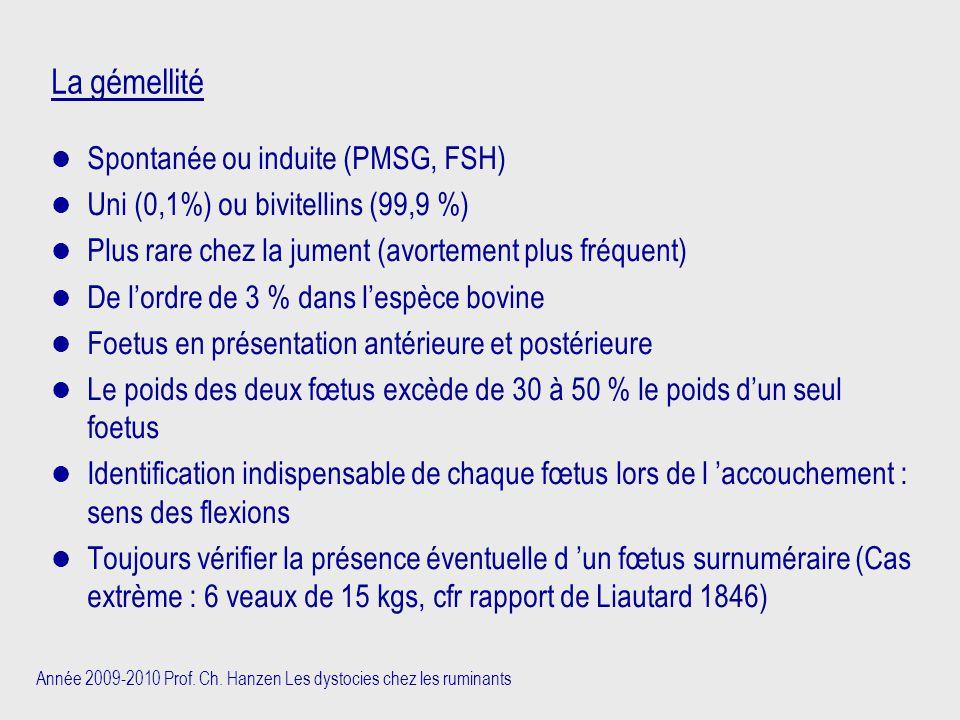 La gémellité Spontanée ou induite (PMSG, FSH)