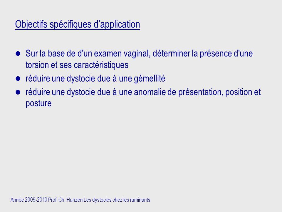 Objectifs spécifiques d'application