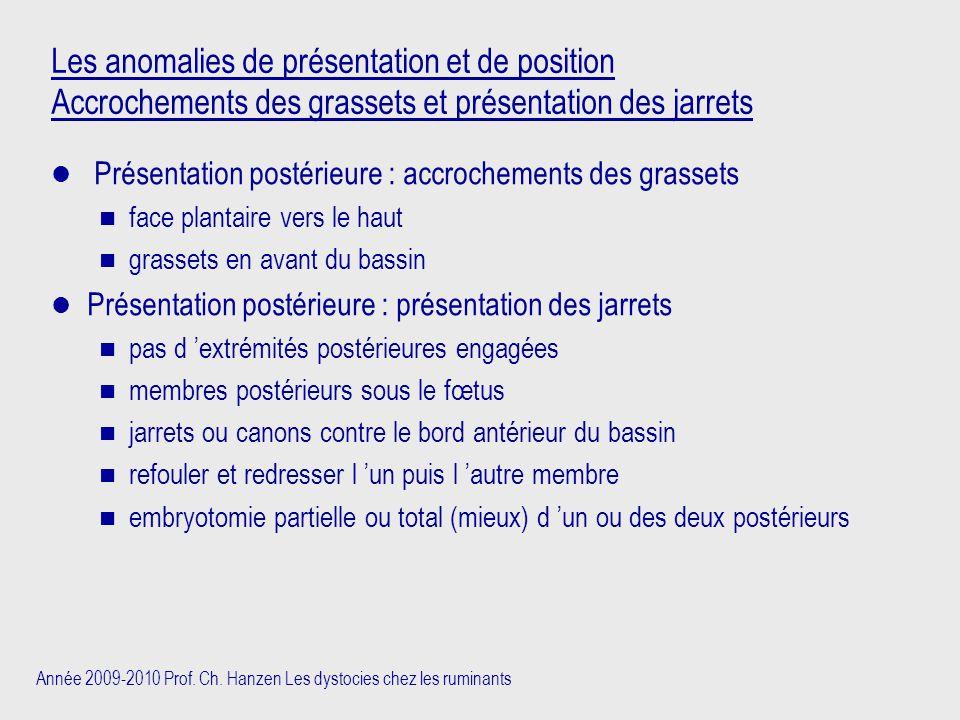 Les anomalies de présentation et de position Accrochements des grassets et présentation des jarrets