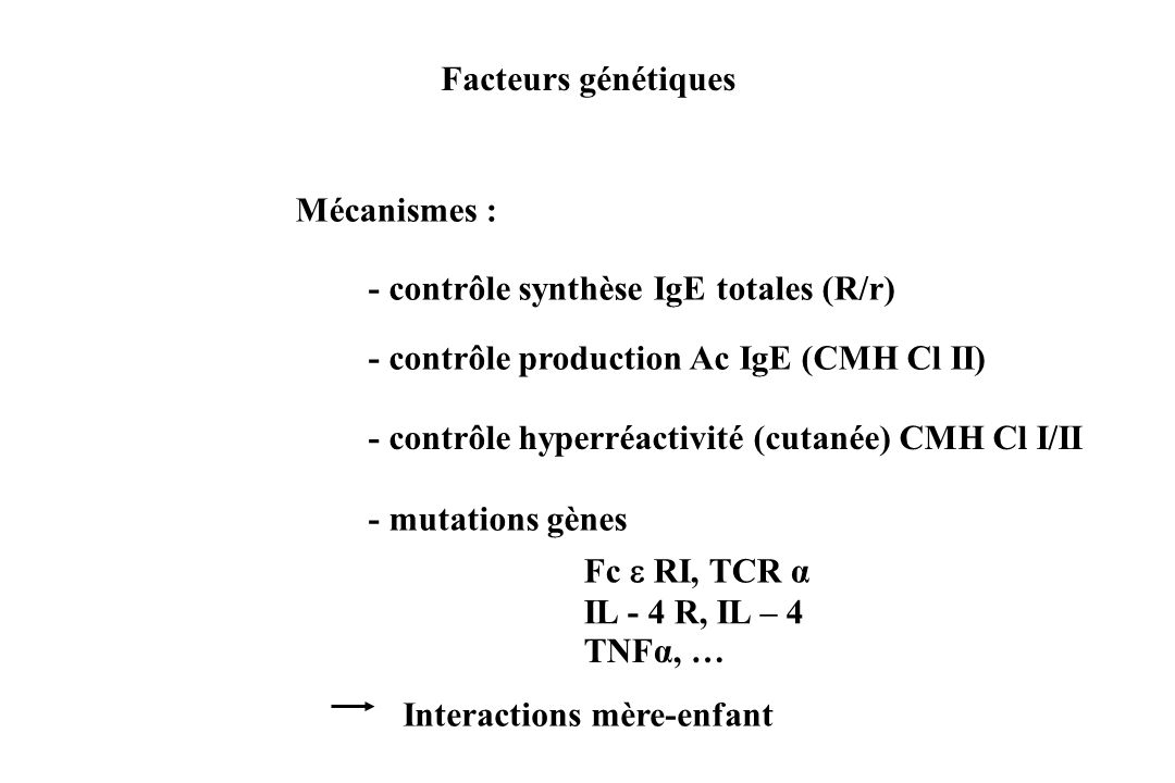 Facteurs génétiquesMécanismes : - contrôle synthèse IgE totales (R/r) - contrôle production Ac IgE (CMH Cl II)