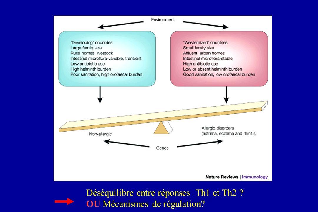 Déséquilibre entre réponses Th1 et Th2