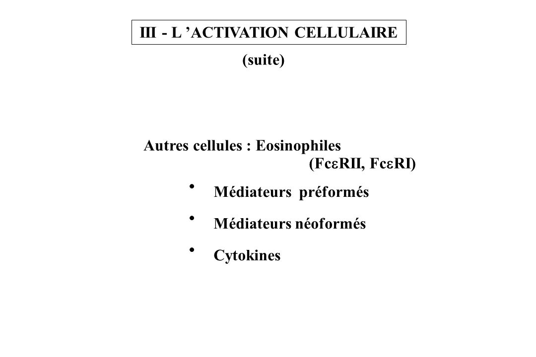 III - L 'ACTIVATION CELLULAIRE