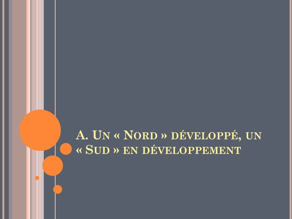 A. Un « Nord » développé, un « Sud » en développement