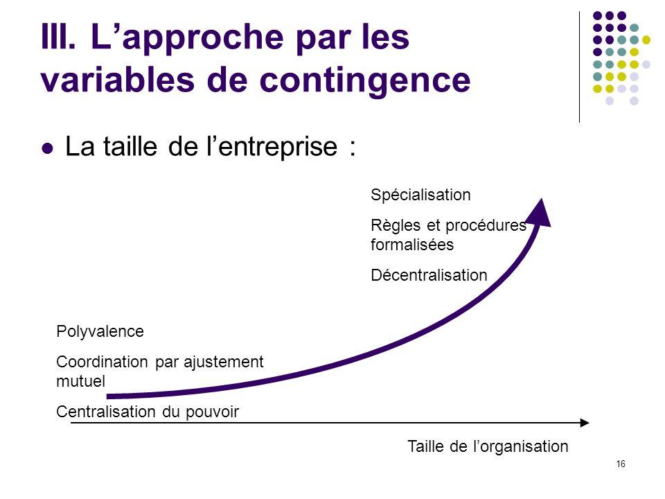 III. L'approche par les variables de contingence